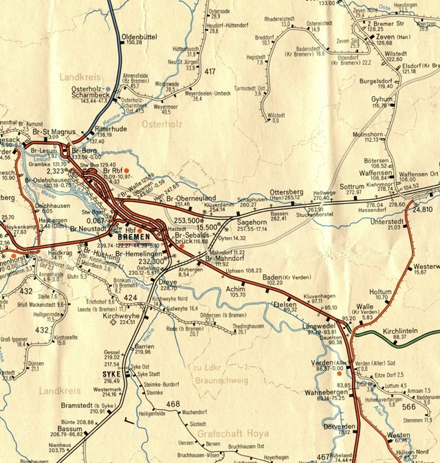 640 - Karte  1740 Bremen-Umgebung
